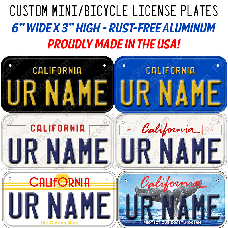 California Bicycle or Mini Aluminum License Plate Custom
