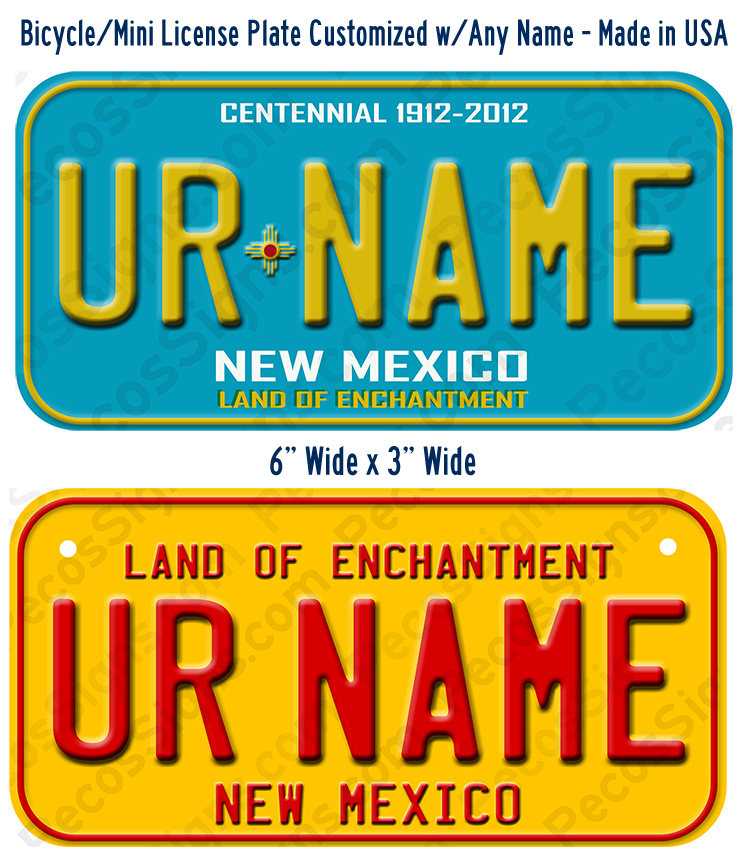 New Mexico Bicycle or Mini Aluminum License Plate Custom