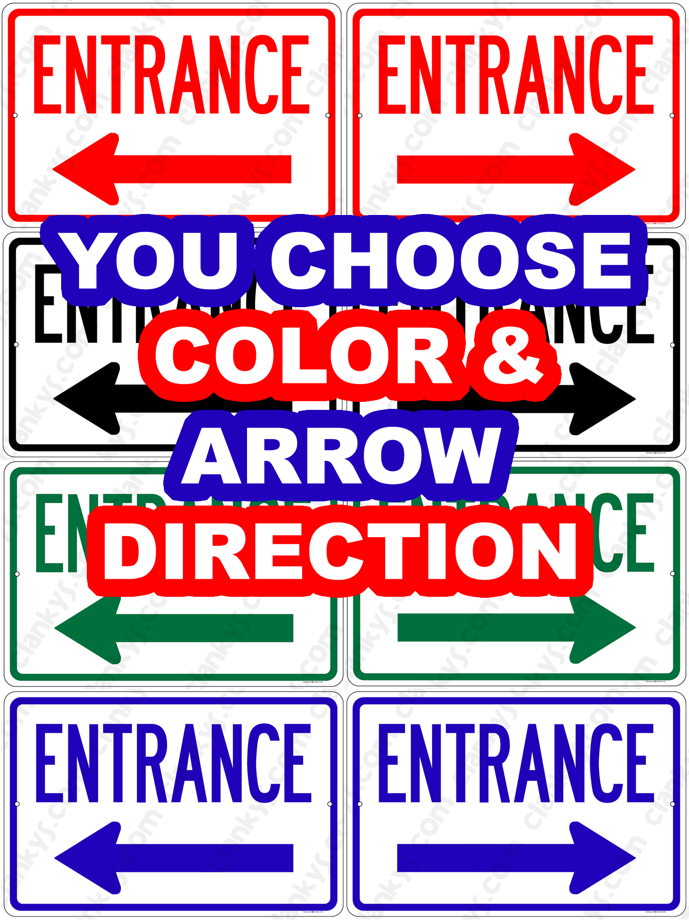 Entrance w/Arrow - You Choose Color 12x8 Aluminum Sign
