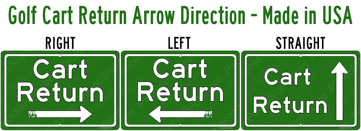 Golf Cart Return Signs - Choose Arrow Direction 12x8 Aluminum