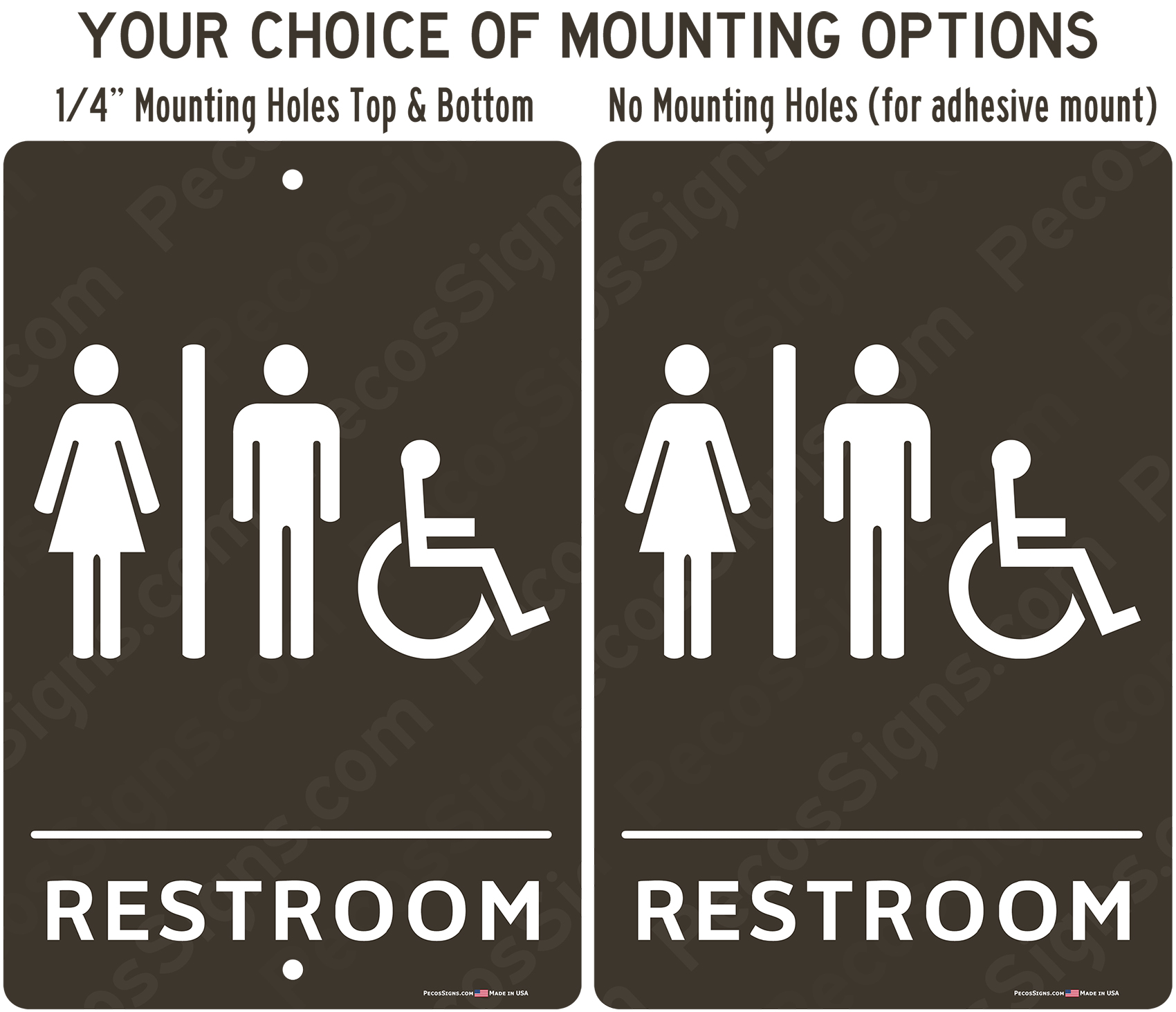 Handicapped Accessible Restrooms Taupe White Aluminum Sign 8x12