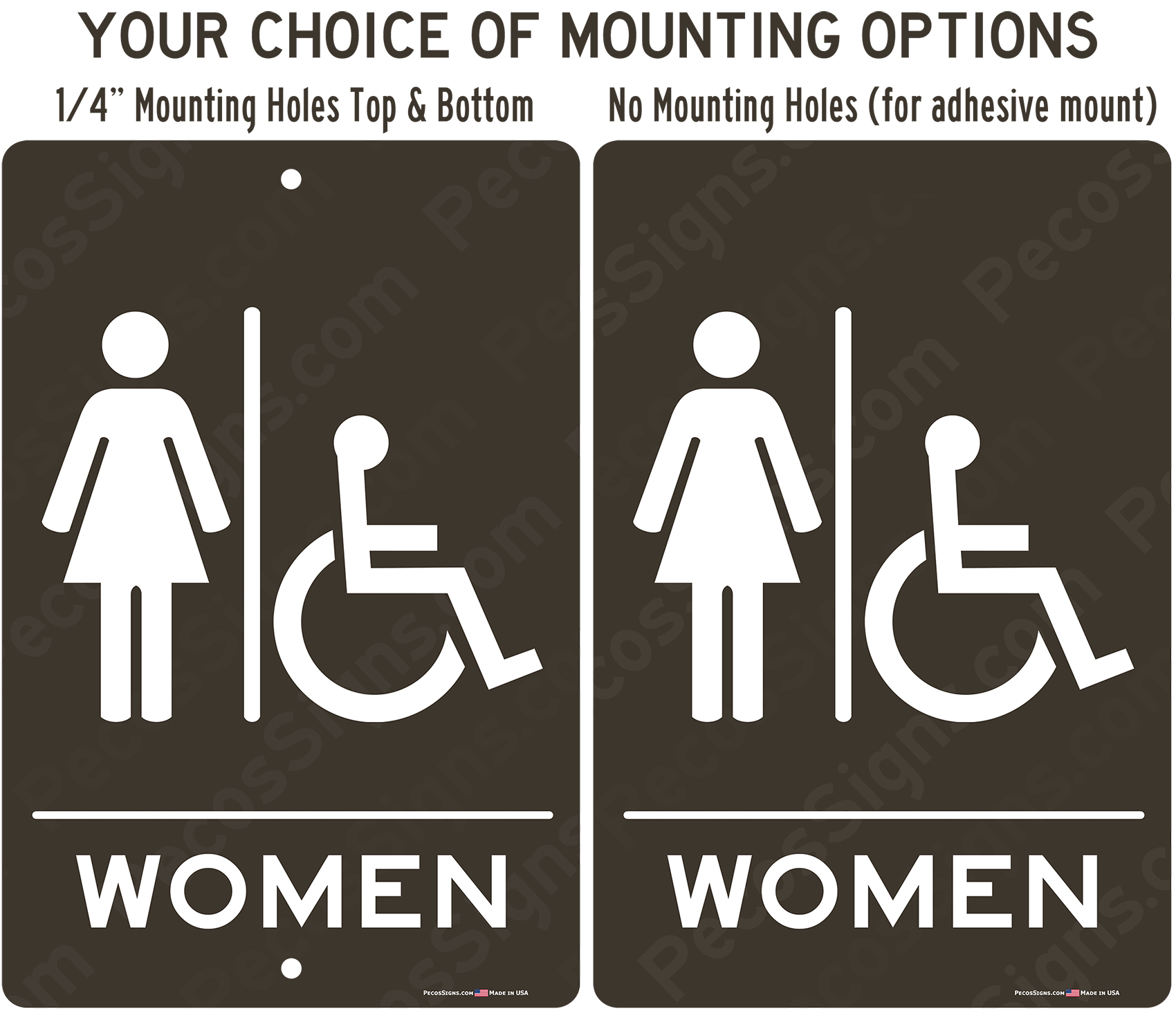 Womens Handicapped Restroom Taupe Aluminum Sign 8x12