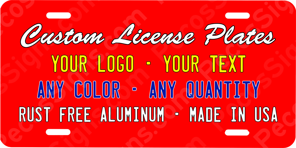 "CUSTOM Aluminum License Plate Your Logo, Text & Colors 12""x6"""