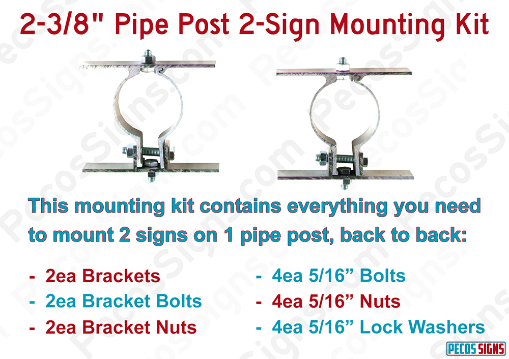 2-3/8 Pipe/Round Post Sign Mounting Bracket Kit for 2 Signs