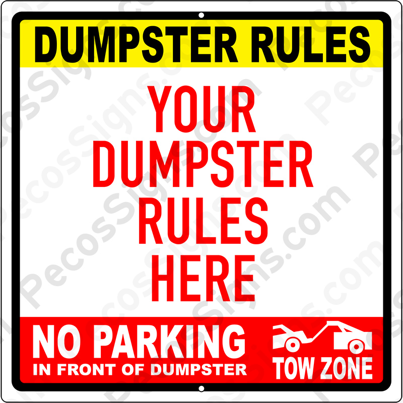DUMPSTER RULES Custom Made with Your Rules in Any Color 12x12