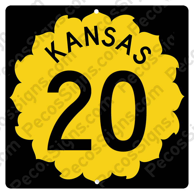 Kansas Highway Sign Your Choice of Hwy#/Size Aluminum Novelty