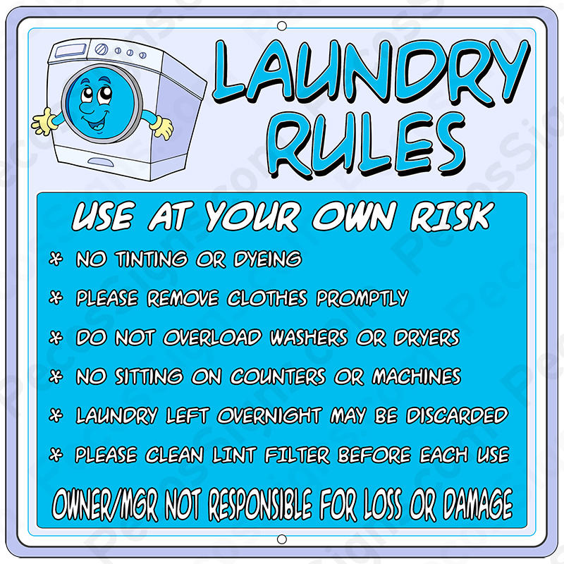 LAUNDRY RULES on a 12 x 12 Aluminum Sign - Never Rusts