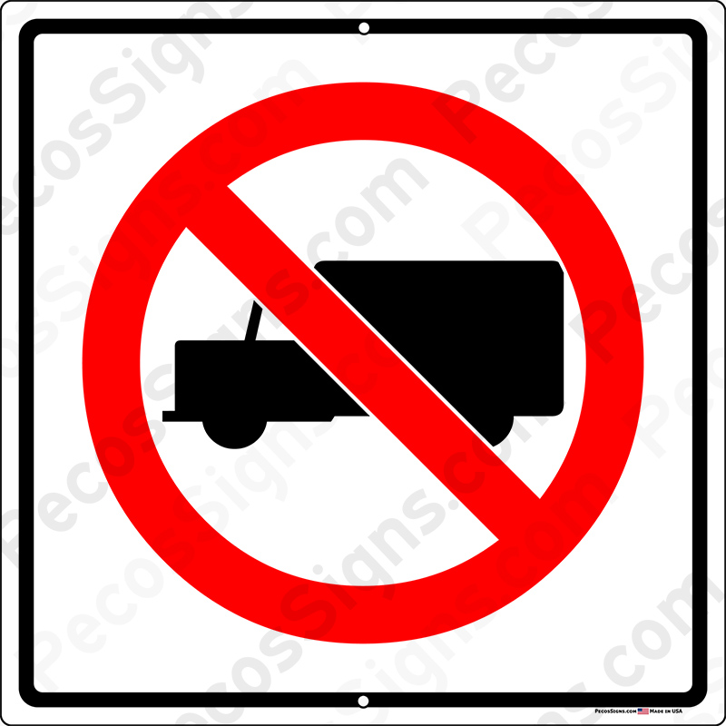 No Truck Turn Around Box Truck Symbol 12x12 Alum Sign