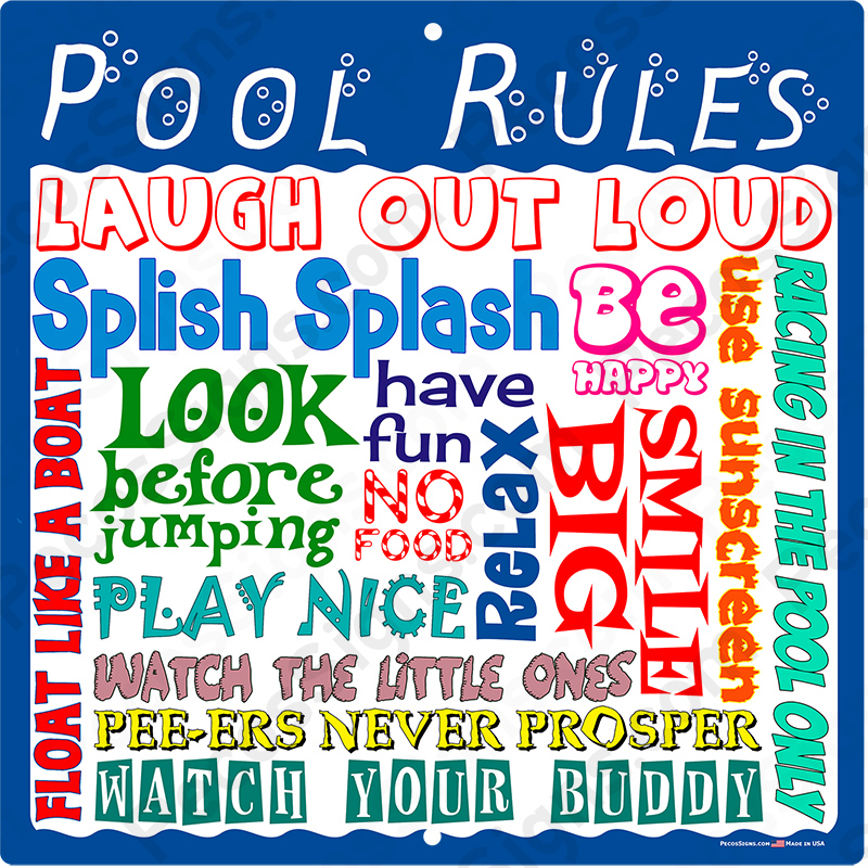 "POOL RULES LAUGH SMILE HAVE FUN 12""x12"" Aluminum Sign"