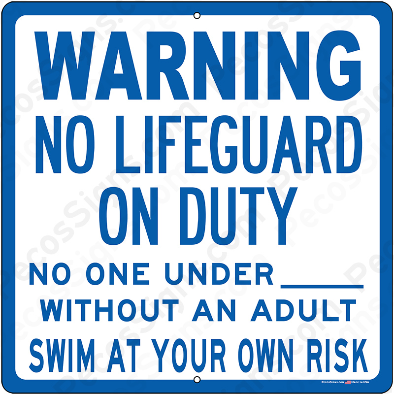 WARNING No Lifeguard on Duty 12x12 Aluminum Sign