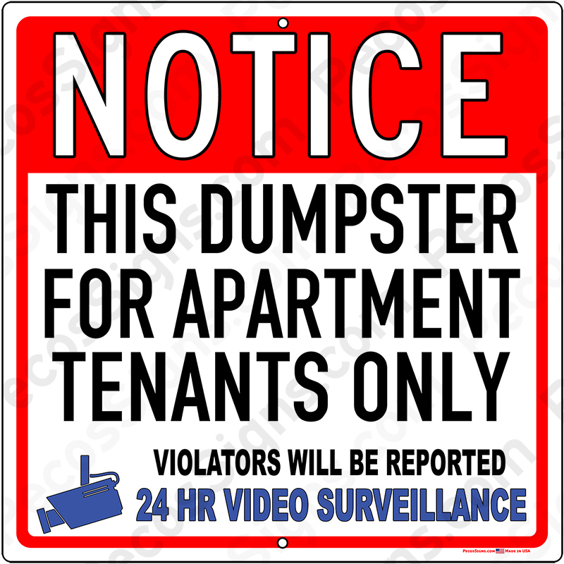 THIS DUMPSTER Apt Tenants Only Violators Reported Video 12x12