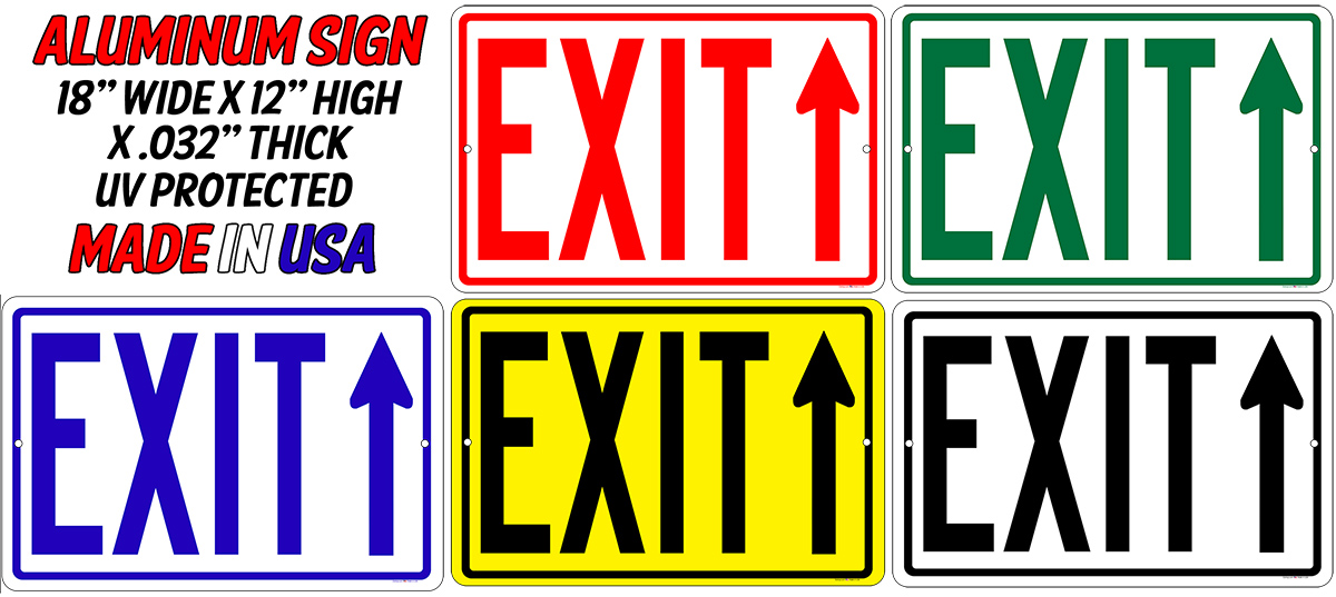 EXIT Sign w/Straight Arrow - 18x12 Aluminum Your Color Choice