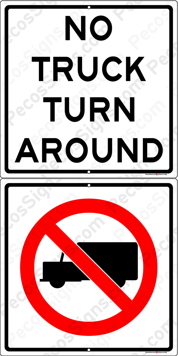 No Truck Turn Around Box Truck Symbol 12x24 Alum Sign