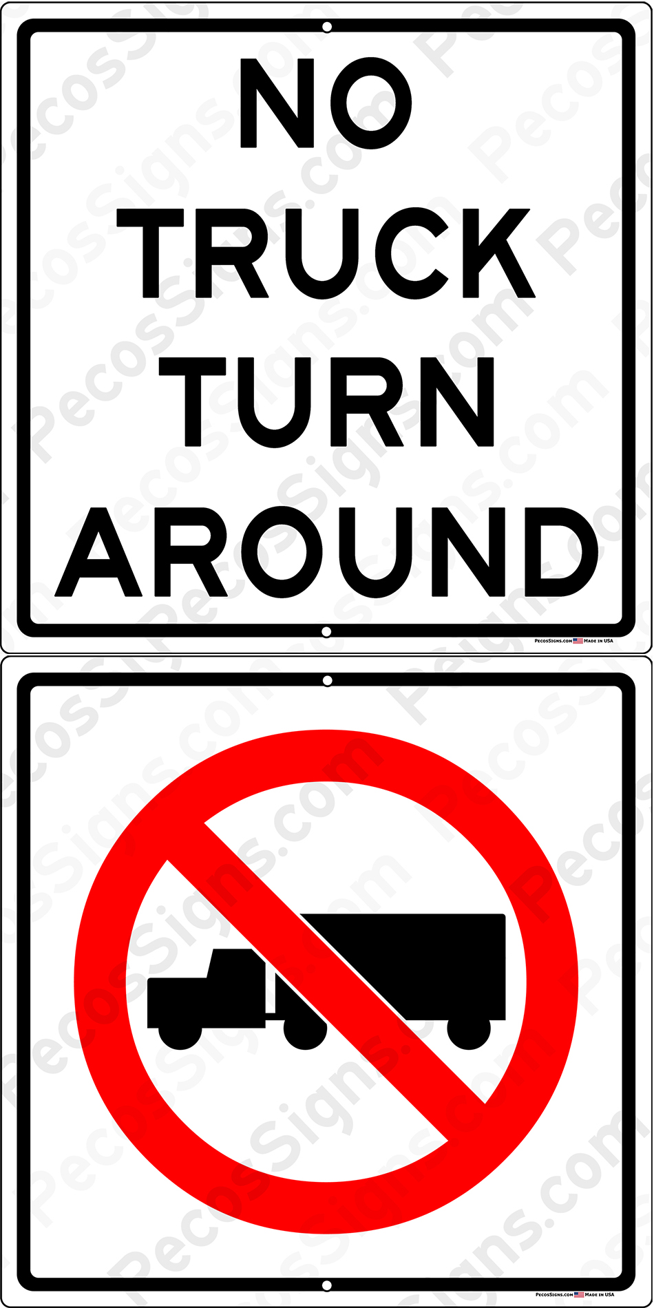No Truck Turn Around Tractor Trailer Symbol 12x24 Alum Sign
