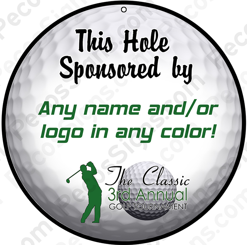 "Round 11.75"" Sponsored by Golf Ball Sign Any Logo/Text Aluminum"
