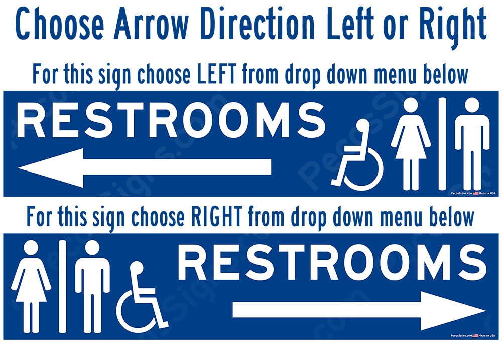 Handicapped Accessible Restrooms with Arrow Aluminum Sign 13x4
