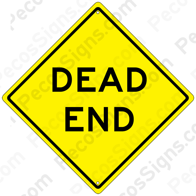 "DEAD End 12"" x 12"" Caution Diamond Aluminum Sign"