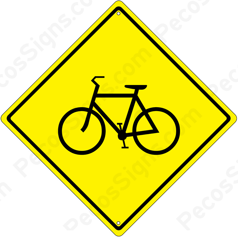 "Bicycle Crossing/Traffic Diamond Caution Sign 12""x12"""