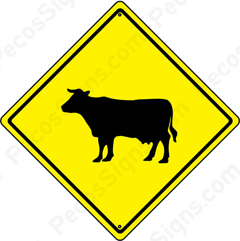 "Cattle Crossing Diamond Caution Sign 12"" x 12"""