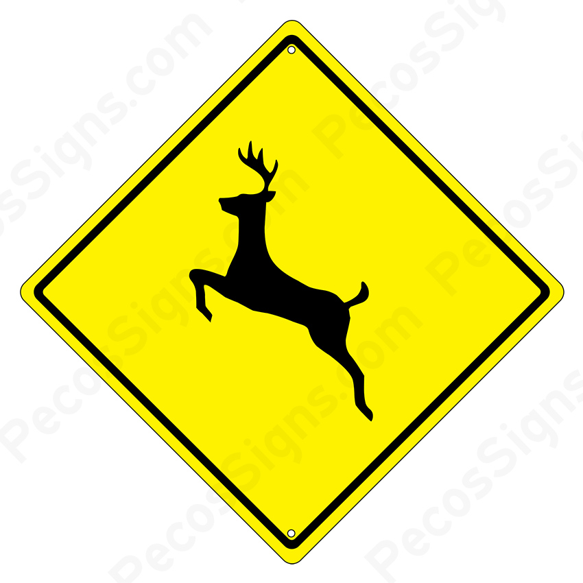 "Deer Crossing Diamond Caution Sign 12"" x 12"""