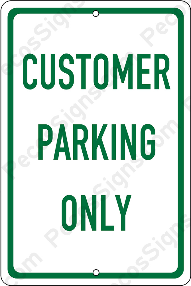 "CUSTOMER PARKING ONLY 8"" x 12"" Aluminum Sign - WHOLESALE PRICING"