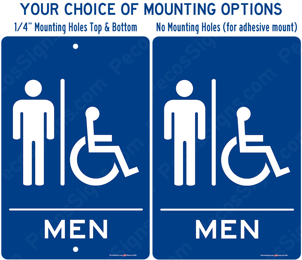 Mens Handicapped Restroom Blue White Aluminum Sign 8x12