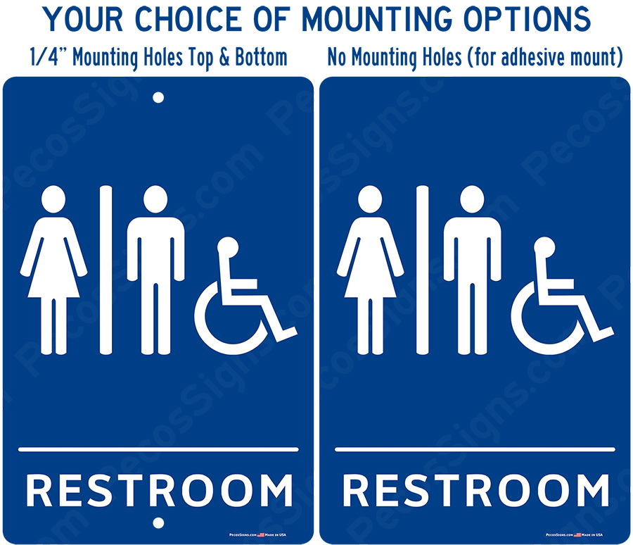 Handicapped Accessible Restrooms Blue White Aluminum Sign 8x12