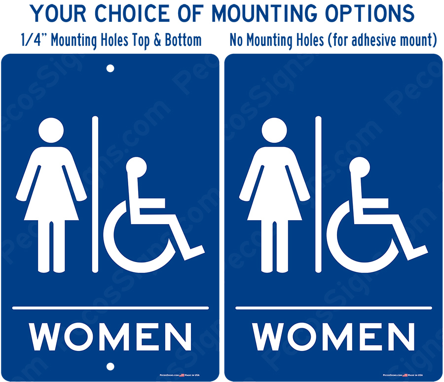 Womens Handicapped Restroom Blue White Aluminum Sign 8x12