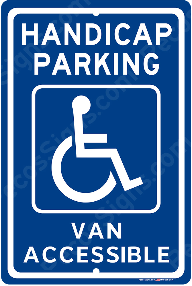 Handicap Parking Van Accessible 8x12 Alum Sign - WHOLESALE PRICE