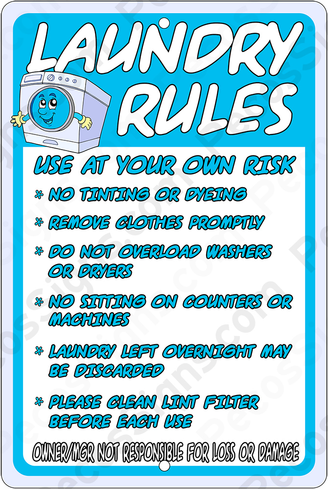 LAUNDRY RULES on a 8 x 12 Aluminum Sign - Never Rusts