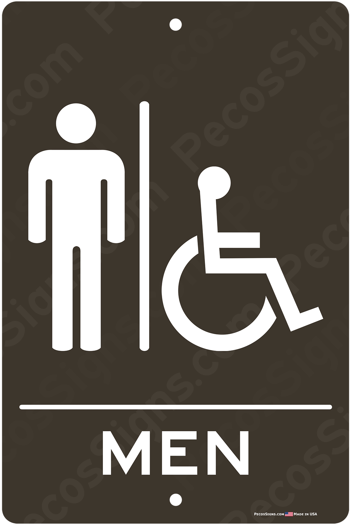 Mens Handicapped Restroom Taupe White Aluminum Sign 8x12