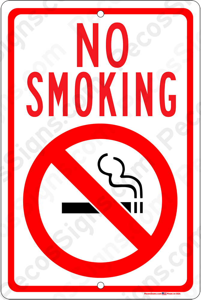No Smoking With Symbol Red Black White 8x12 Aluminum Sign