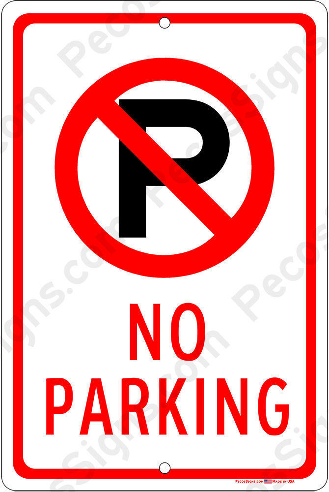 No Parking w/Symbol on an 8x12 Aluminum Sign - WHOLESALE