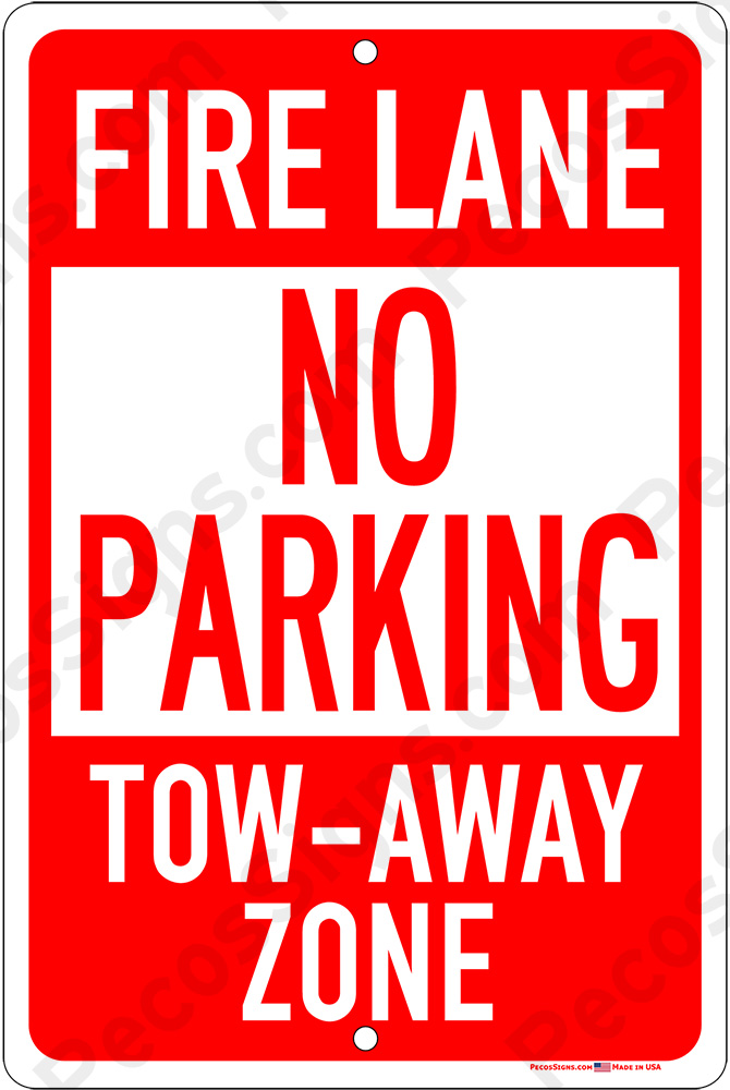 No Parking Fire Lane on an 8x12 Aluminum Sign - WHOLESALE