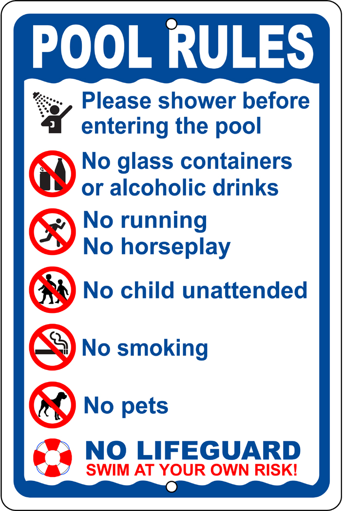 POOL RULES on a 8 wide x 12 high Aluminum Sign - Never Rusts