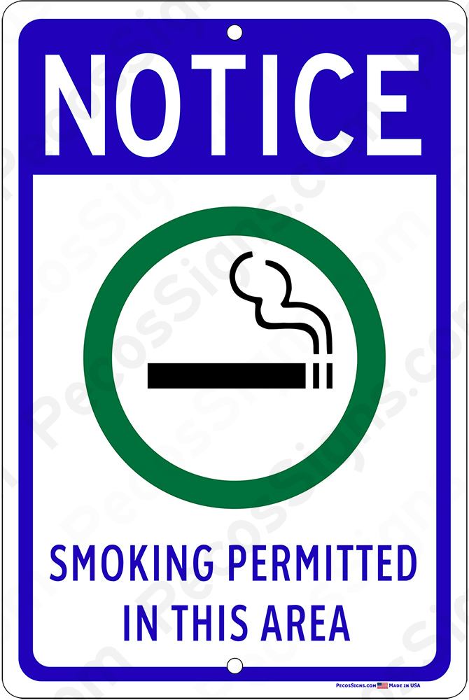 Smoking Permitted in This Area 8x12 Aluminum Sign
