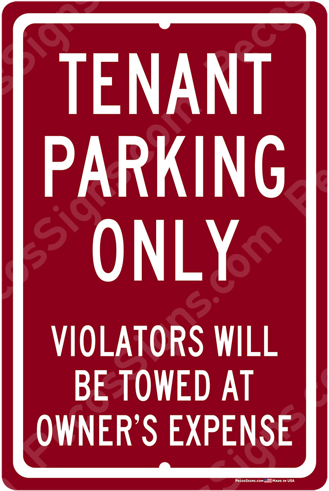 Tenant Parking Only Violators Towed 8x12 Burgundy Sign WHOLESALE