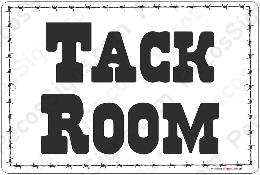 "Tack Room 12"" wide x 8"" high Aluminum Sign - Barbed Wire"