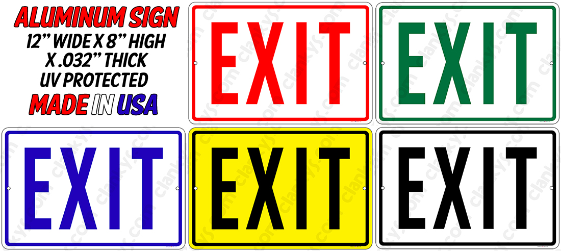 EXIT Sign - 18x12 Aluminum Your Color Choice