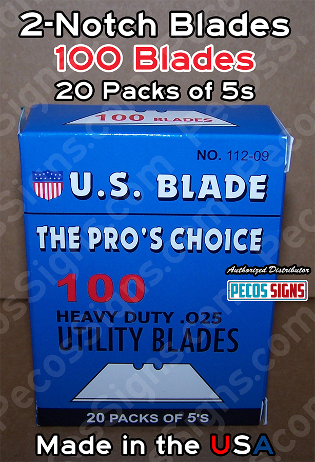 100 2-Notch Utility Blades 20 Packs of 5s - Hvy Duty .025