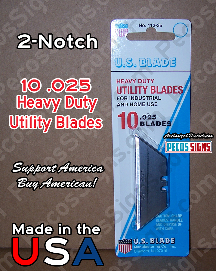 10ea 2-Notch Utility Blades 10-Pack - Hvy Duty .025 Blades